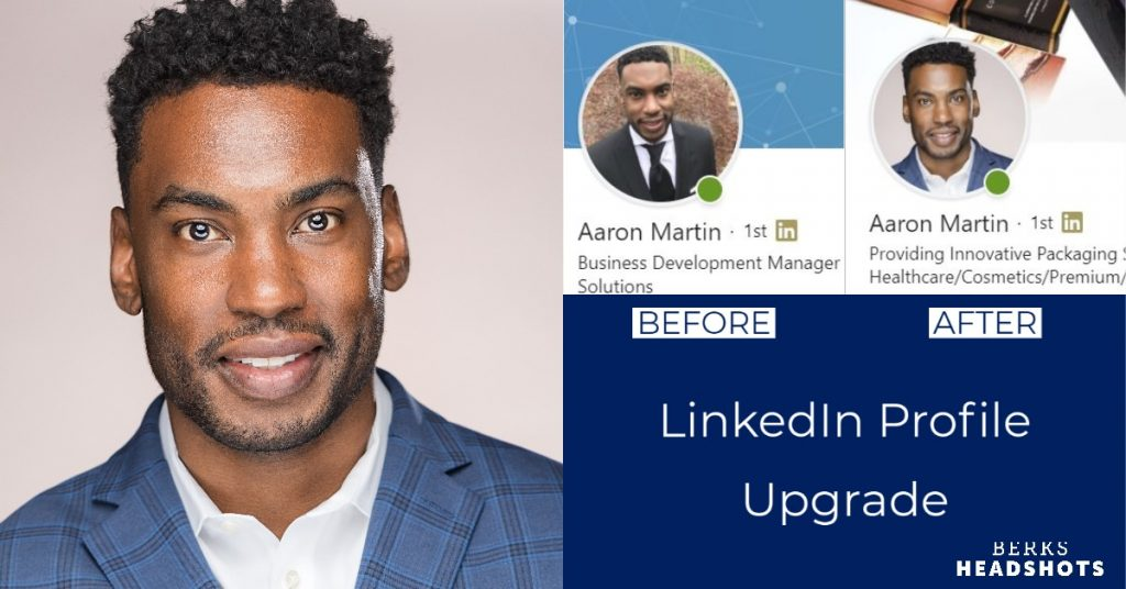 Salesperson LinkedIn Profile Picture Before and After Graphic, Selfie Vs. Pro Studio Headshot