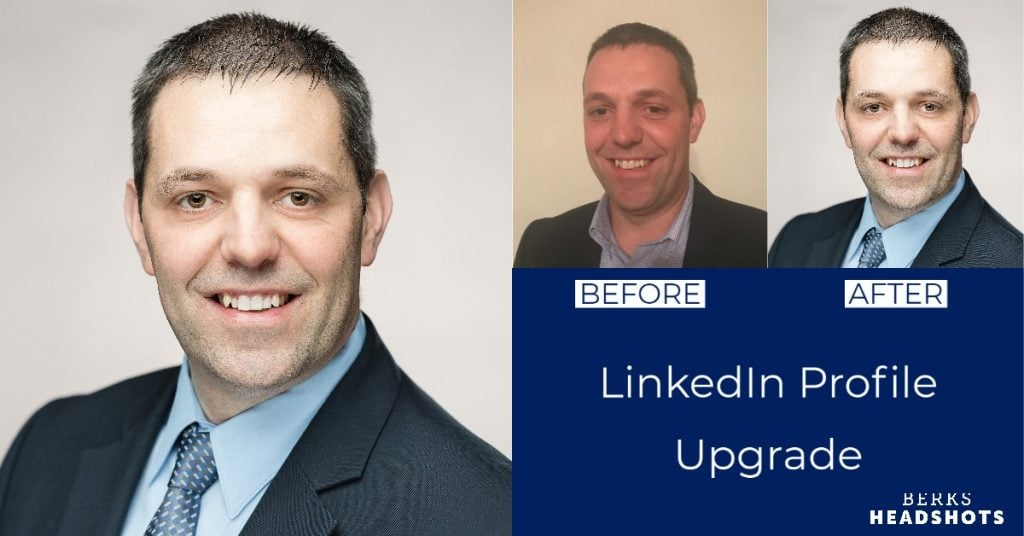 Commercial Director LinkedIn Profile Picture Before and After Graphic, Selfie Vs. Pro Studio Headshot