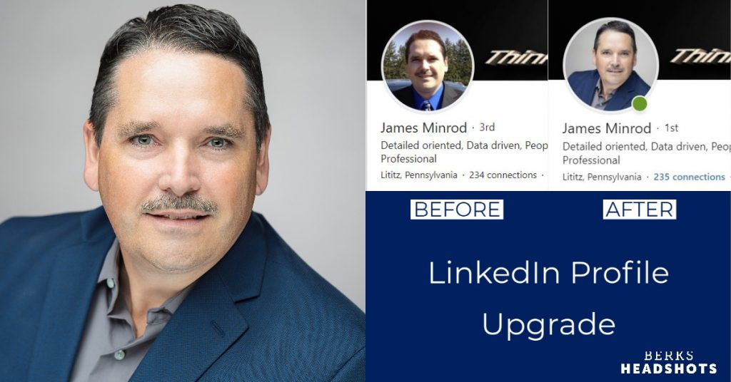 Entrepreneur LinkedIn Profile Picture Before and After Graphic, Selfie Vs. Pro Studio Headshot